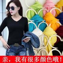 2016 Korean autumn female coat solid color modal v-neck slim slim Joker t shirt long sleeve plus size top