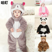 0-1-2 year-old male baby out of winter thickened newborn conjoined clothes for 6 months female baby cotton winter clothes