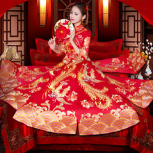 Show Wo clothing bride 2018 new Phoenix wedding Chinese wedding dress cheongsam Slim wedding dress toast clothing summer