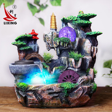 Rockery water fountain lucky Feng Shui decoration craft gift Home Furnishing wheel humidifier room office decoration