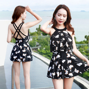 The female swimsuit Siamese skirt cover belly thin steel supporting conservative small chest sexy swimsuit swimsuit gathered Korean Spa