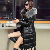 New 2016 winter Haining leather slim sheep skin leather women long down jacket fox fur collar coat