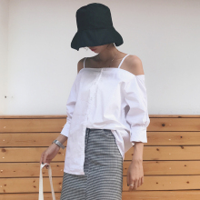 Han van chic wind all-match sling temperament word shoulder loose shirt thin cardigan coat color female leisure summer