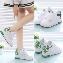 spring new Korean version of the small white shoes female 2018 summer thick bottom hollow breathable casual shoes wild shoes in the increase high shoes