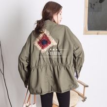 The little girl you D& H Korean army green short frock coat embroidered jacket casual relaxed female students