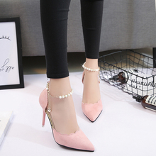 Female high-heeled sandals summer 2017 summer new pointed shoes tide fine beaded shoes shoes all-match Korean documentary