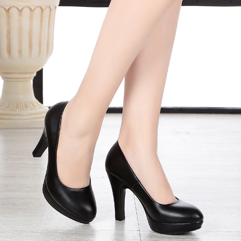 New women's leather shoes, women's leather shoes, waterproof shoes, black circle, professional women's shoes, high heels