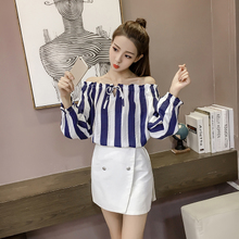 In the spring of Korean fashion temperament collar Strapless all-match shirt striped shirt dress coat elastic bubble sleeve