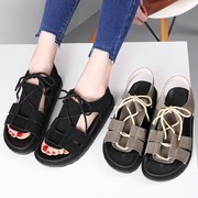 2017 new summer sandals s casual shoes with thick bottom flat cake students set foot with strappy sandals
