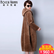 Nobel Kafanni cashmere coat new female 2017 winter cloak was thin in the long season hooded fur coat