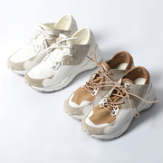 White sports shoes casual all-match increased thick soled running shoes with lace high-heeled leather shoes head single slope