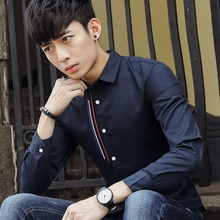 Men's dress shirt Korean side slim male long sleeved coat young men's clothes conventional tide tide.