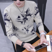 2017 new winter sweater round neck sweater personality trend of Korean male man knit jacket
