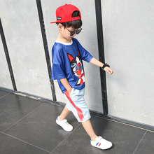 Children's clothing boy summer suit 2018 new boy summer children big boy sports handsome two-piece suit tide clothes
