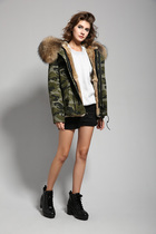 You thousands of song of the stars with Korean super long wool collar padded coat Camo coat short coat female