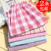 Spring and autumn Ladies Cotton Pajamas female cotton seersucker long pajama pants old Plaid loose pants Home Furnishing