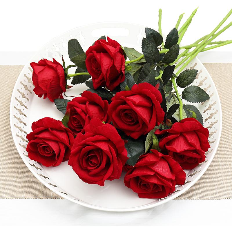 仿真玫瑰花单支 假玫瑰花仿真花束 客厅摆设装饰花塑料花绢花假花