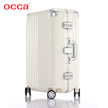OCCA pure PC pull rod box, universal wheel, female aluminum alloy bag, suitcase, metal lock suitcase, male suitcase.