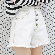 2017 new summer high waisted skinny white shorts female jeans loose wide leg all-match shorts female shorts