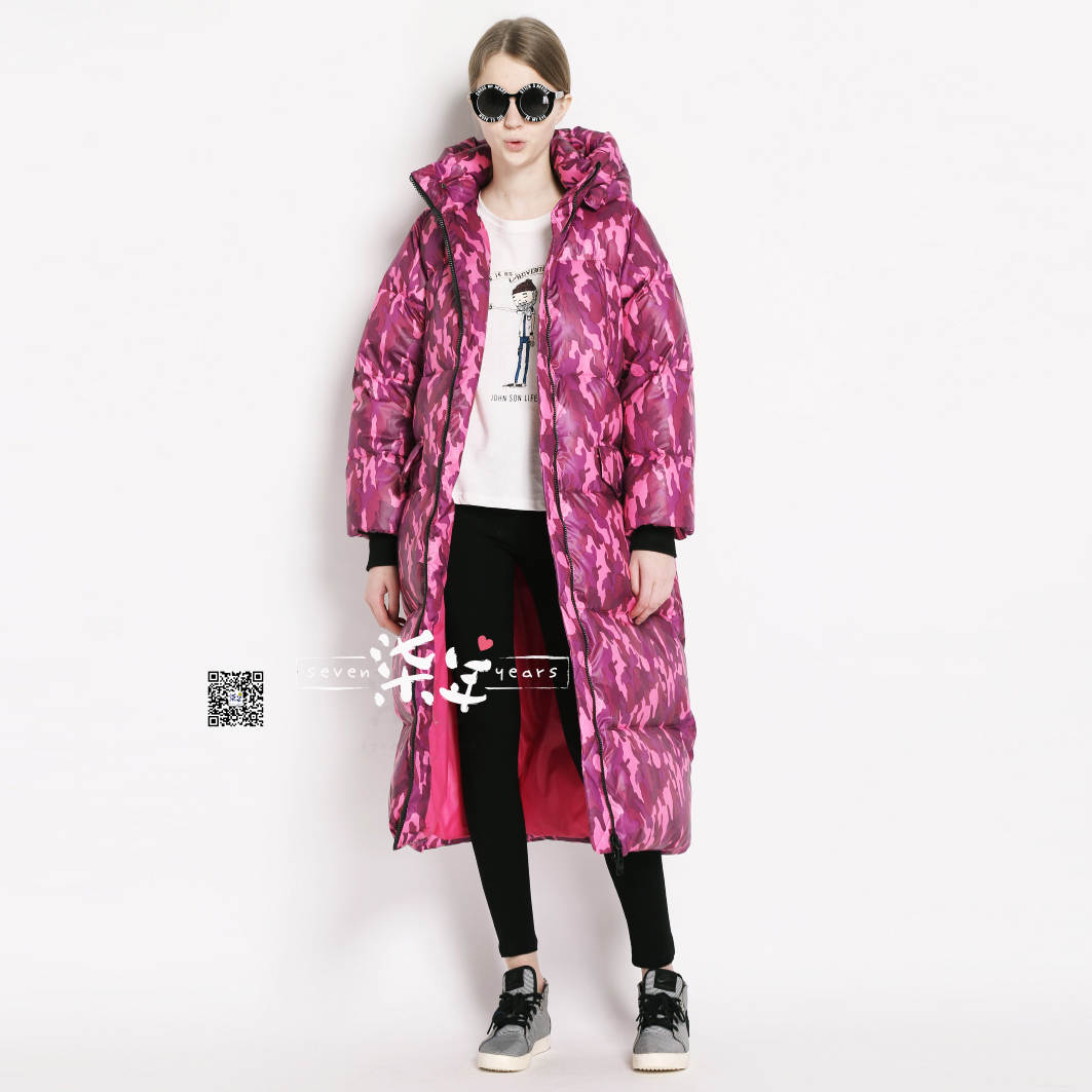 Original women's clothing retailer in exclusive design mei purple camouflage large ultra-loose ultra thick long down jacket
