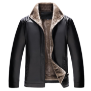 Old man PU leather leather jacket with fleece size thickened in autumn and winter leisure warm coat locomotive
