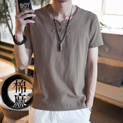 Summer short sleeved T-shirt Man Costume, linen cotton modified Chinese Zen clothing Hanfu male lay clothes size tide