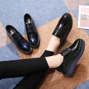 Women fall 2017 platform shoes thick soled shoes black all-match new British style leather shoes autumn shoes shoes