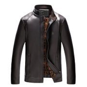 Winter coats and cashmere collar middle-aged male thick father put warm coat in the elderly Pu Mens Leather Jacket