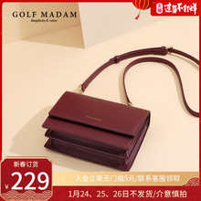 Golf, autumn and winter 2019, new solid color, fashion, advanced feeling, foreign style leather, women's one shoulder messenger bag, red