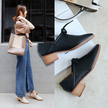 spring single shoes female 2018 new style with pointed shoes female British style foot shoes women's shoes with coarse lazy small leather shoes