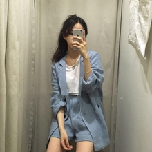 South Koreas spring and summer new models in the long section suit two-piece female Korean version of the cotton small suit suit loose casual jacket