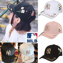 Authentic Korea MLB baseball cap NY hat men's and women's 18 new hip-hop cap summer letter hat sunscreen cap