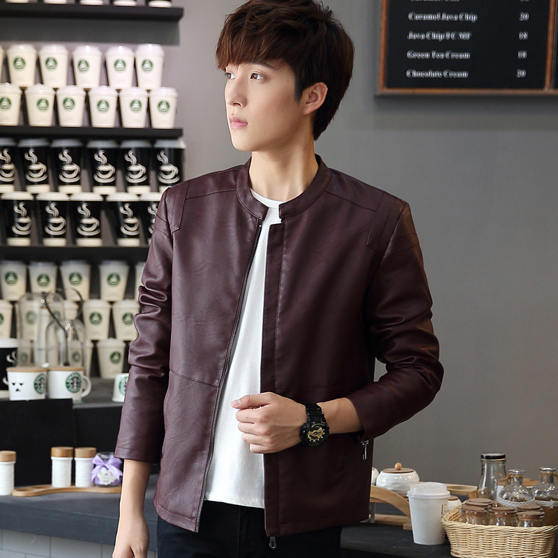 PU Leather Men's spring and autumn young Korean slim casual coat collar jacket dress Kark trendsetter