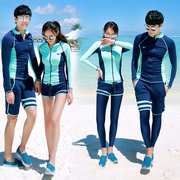 South Korea's diving suit split speed dry clothing zipper sunscreen jellyfish swimsuit surf wear long sleeved women lovers'suits