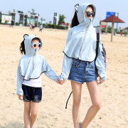 Sunscreen clothing female children summer thin Hooded Jacket beach wear long sleeved Korean large code sunscreen shawl