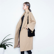 Korean girls long Korean woolen coat thickened in autumn and winter 2017 new students double-sided cashmere coat