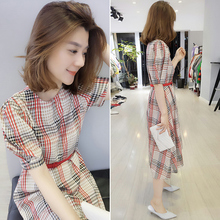 2018 spring new European station women's clothing European goods tide Korean version of the short-sleeved waist plaid long dress summer