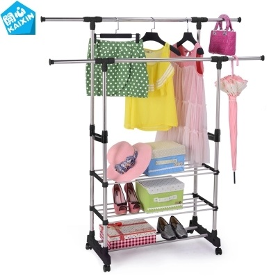 Clothes-horse telescopic clotheshorse balcony ground hanging clothes rack pole type household clothes tree inside the bedroom