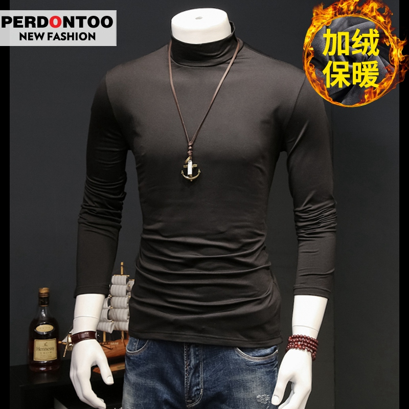 2件】男士长袖T恤半高领纯色薄款加绒男装卫衣打底衫衣服保暖秋衣