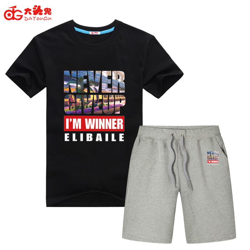 Suit men round collar t-shirts with short sleeves han edition summer two-piece teenagers of 5 minutes of pants cotton