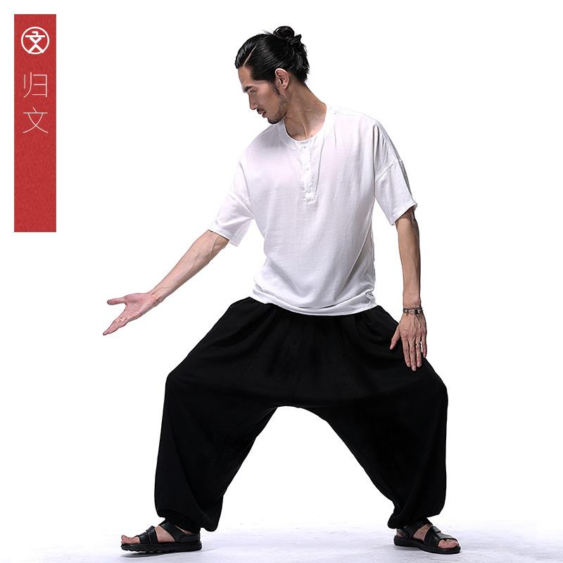 中国风棉麻裤男宽松薄款阔腿大码男装亚麻宽松长裤日系复古哈伦裤