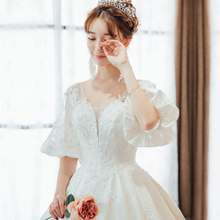 Satin wedding dress 2018 new bride Qi long tail palace princess dream pregnant women was thin word shoulder