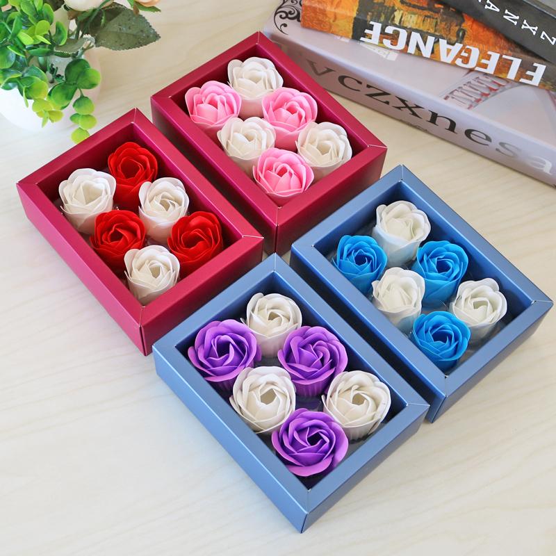 4朵香皂花礼盒婚庆回礼1-5元实用创意活动促销玫瑰肥皂小礼品批发