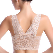 Slim sexy lingerie lace transparent comfortable vest movement without ring steel supporting Sleep Bra