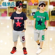 The boys' 5 big boys' summer suit children summer 7 8 9 10 cotton short sleeved sportswear 12-15 years old boy