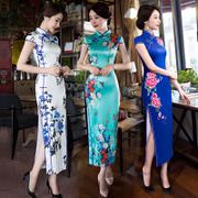 The long summer 2017 new female silk cheongsam retro double spring banquet etiquette catwalk slim dress