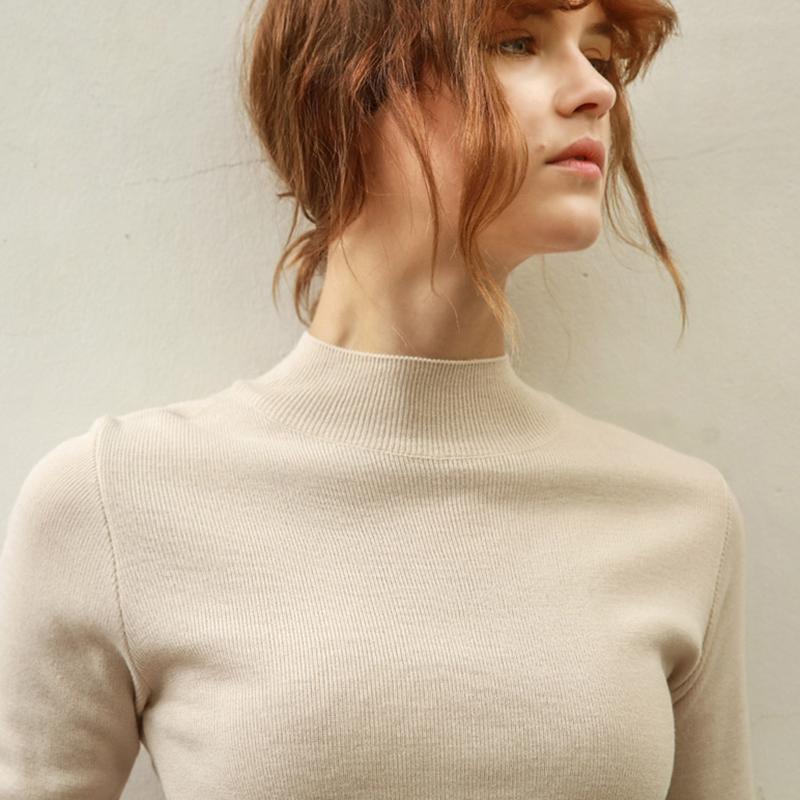 欧美2017新款套头中领紧身打底衫毛衣女修身长袖纯色半高领针织衫