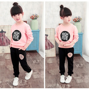 2016 Korean version of the spring and autumn girl's suit in the children's leisure sports hooded children stripe two sets of baby clothes