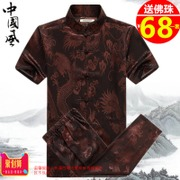 Summer Tang suit-men's short sleeve suit the middle-aged Chinese style silk costume buttons plus size shirts