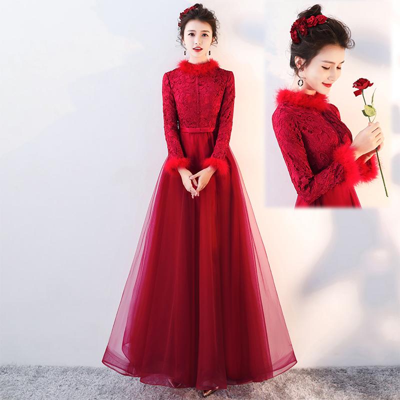 中式敬酒服新娘2017新款冬季加厚长袖红色长款结婚回门晚礼服裙女